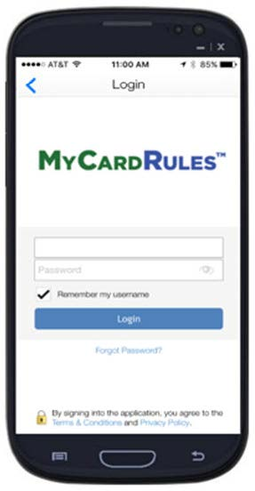 My Card Rules login page